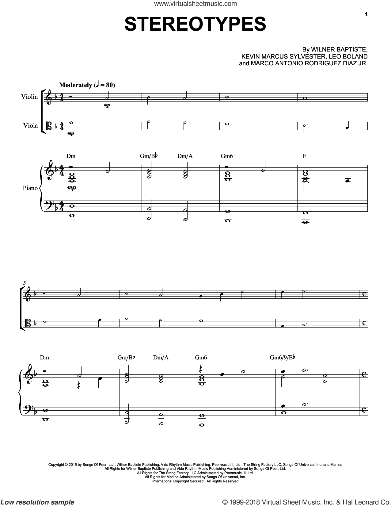 Stereotypes sheet music for viola, violin and piano by Black Violin, Kevin Marcus Sylvester, Leo Boland, Marco Antonio Rodriguez Diaz and Wilner Baptiste, intermediate skill level