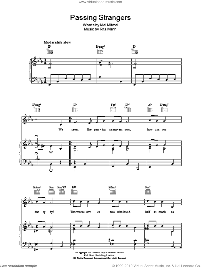 Passing Strangers sheet music for voice, piano or guitar by Rita Mann and Mel Mitchell, intermediate skill level