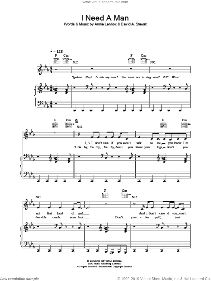 I Need A Man sheet music for voice, piano or guitar by Eurythmics, Annie Lennox and Dave Stewart, intermediate voice, piano or guitar. Score Image Preview.