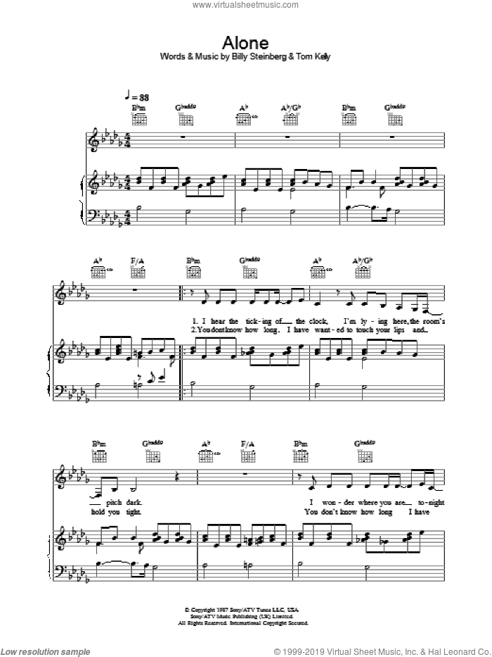 Alone sheet music for voice, piano or guitar by Heart, Billy Steinberg and Tom Kelly, intermediate. Score Image Preview.