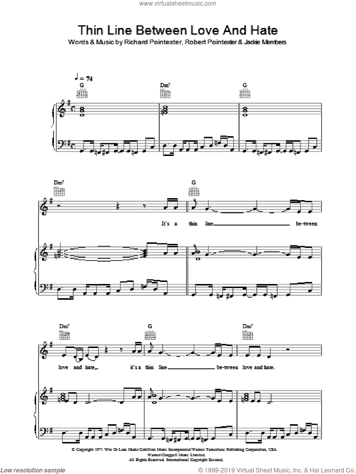 Thin Line Between Love And Hate sheet music for voice, piano or guitar by Jackie Members, Annie Lennox and Robert Poindexter. Score Image Preview.