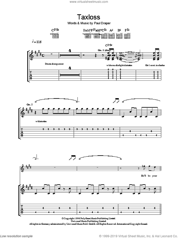 Taxloss sheet music for guitar (tablature) by Mansun and Paul Draper, intermediate