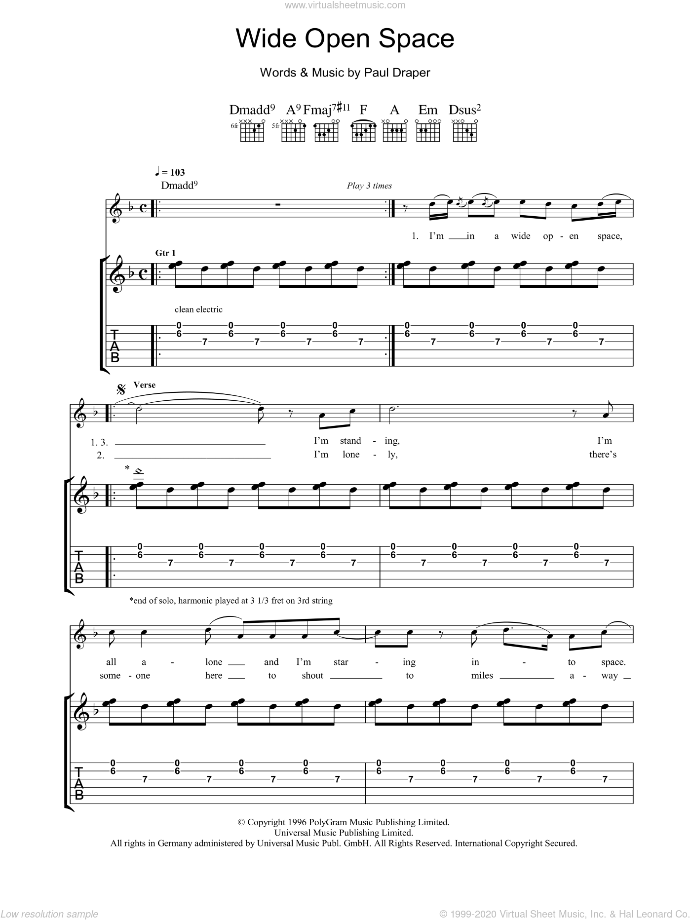 Wide Open Space sheet music for guitar (tablature) by Mansun. Score Image Preview.