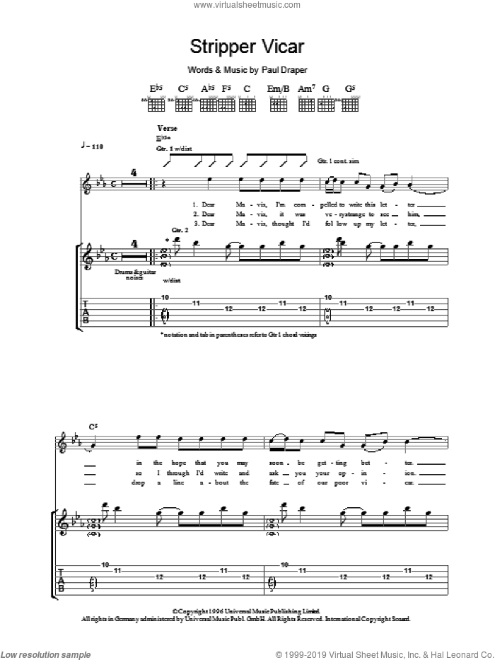 Stripper Vicar sheet music for guitar (tablature) by Paul Draper. Score Image Preview.