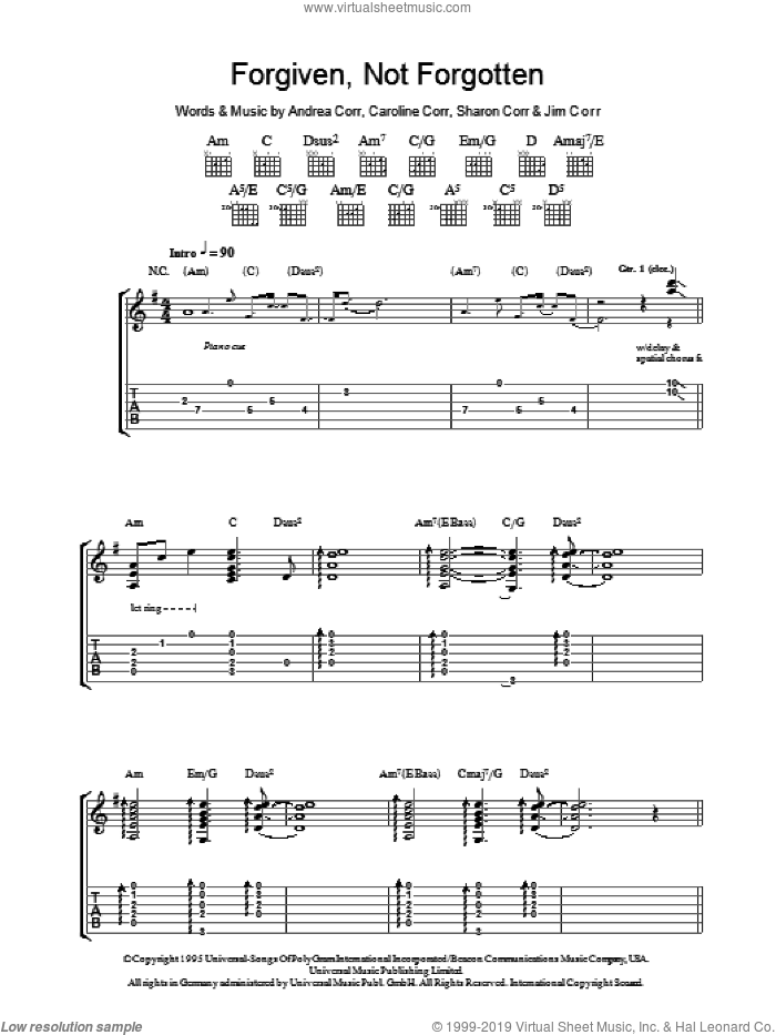 Forgiven, Not Forgotten sheet music for guitar (tablature) by The Corrs, Andrea Corr, Caroline Corr, Jim Corr and Sharon Corr, intermediate. Score Image Preview.