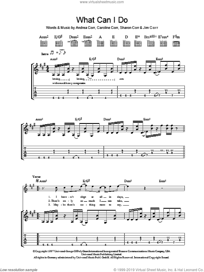 What Can I Do sheet music for guitar (tablature) by The Corrs and Andrea Corr, intermediate. Score Image Preview.