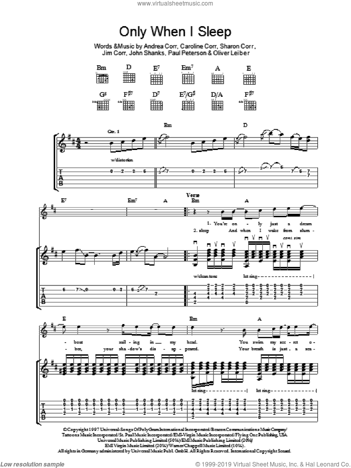 Only When I Sleep sheet music for guitar (tablature) by Andrea Corr