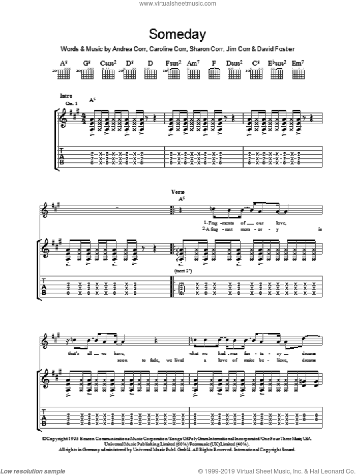 Someday sheet music for guitar (tablature) by The Corrs, Andrea Corr and David Foster, intermediate guitar (tablature). Score Image Preview.