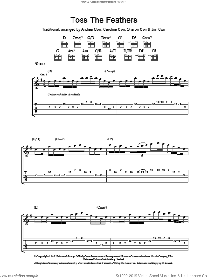 Toss The Feathers sheet music for guitar (tablature) by The Corrs, Andrea Corr and Miscellaneous, intermediate. Score Image Preview.