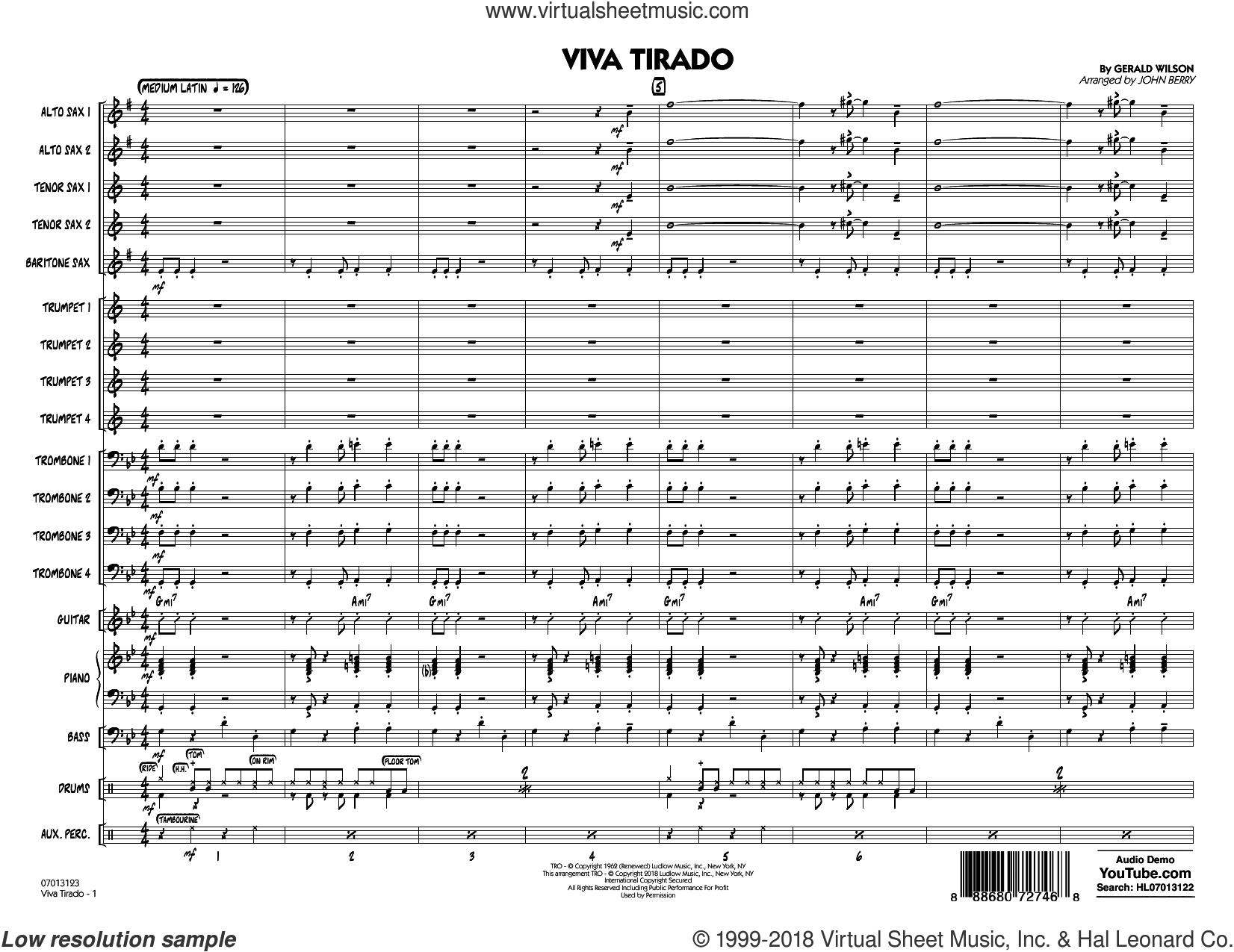 Viva Tirado (COMPLETE) sheet music for jazz band by John Berry and Gerald Wilson, intermediate skill level