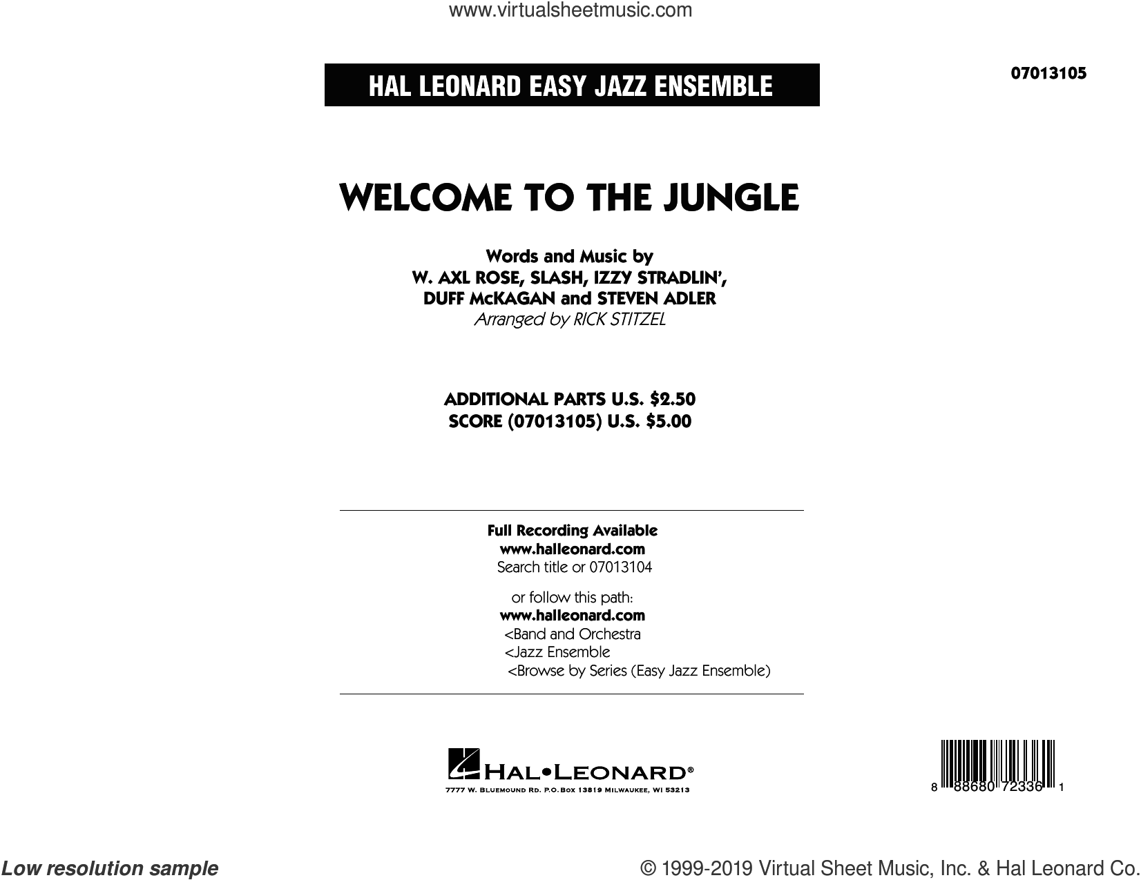 Welcome to the Jungle (COMPLETE) sheet music for jazz band by Rick Stitzel, Axl Rose, Duff McKagan, Slash and Steven Adler, intermediate skill level