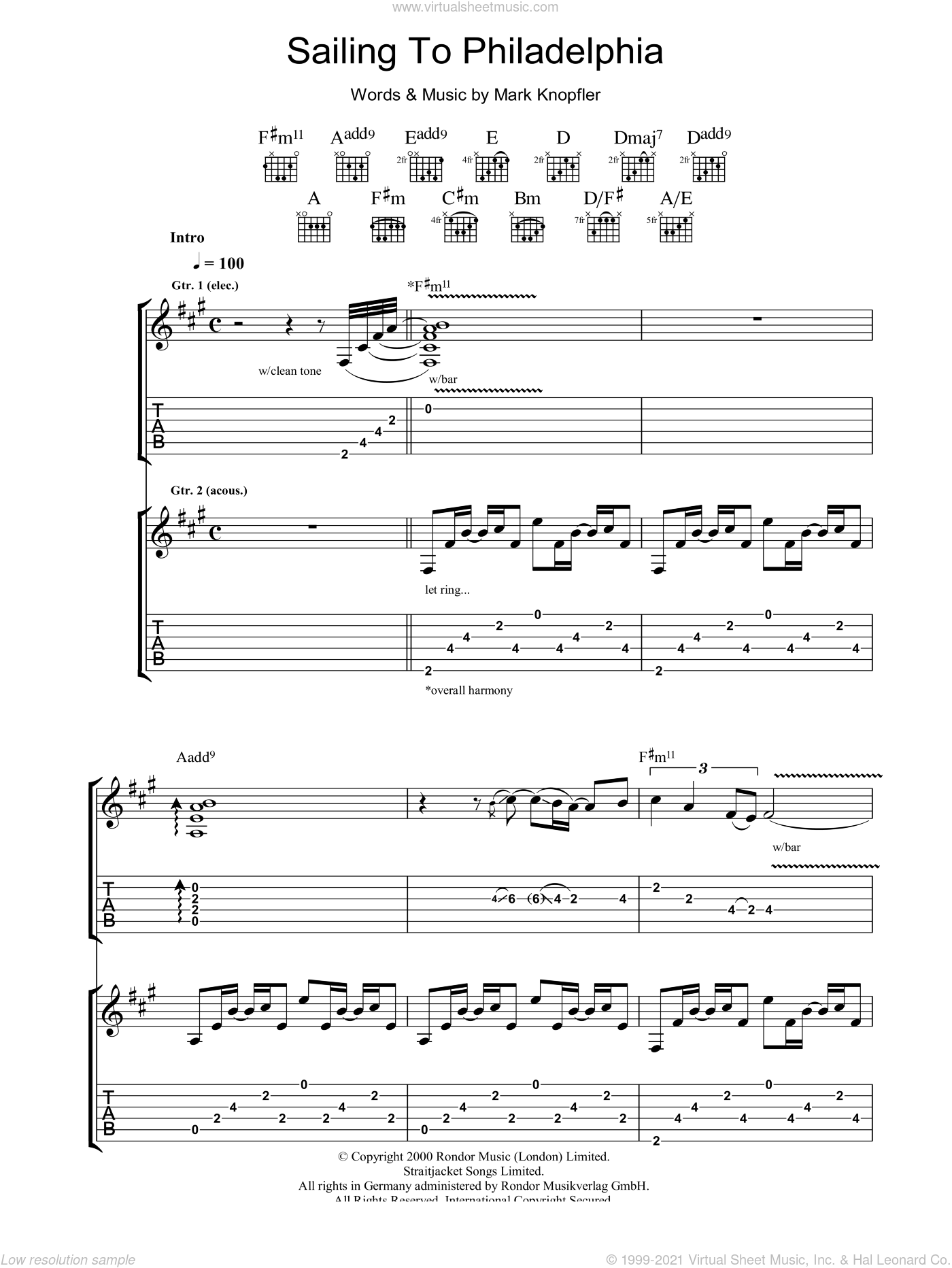 Sailing To Philadelphia sheet music for guitar (tablature) by Mark Knopfler. Score Image Preview.