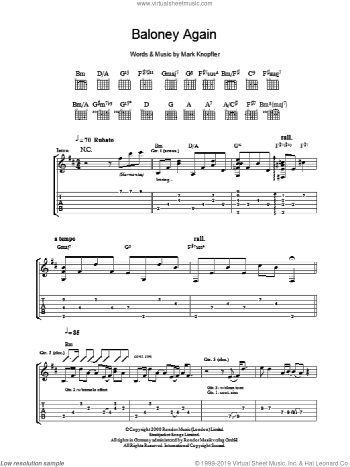 Baloney Again sheet music for guitar (tablature) by Mark Knopfler. Score Image Preview.