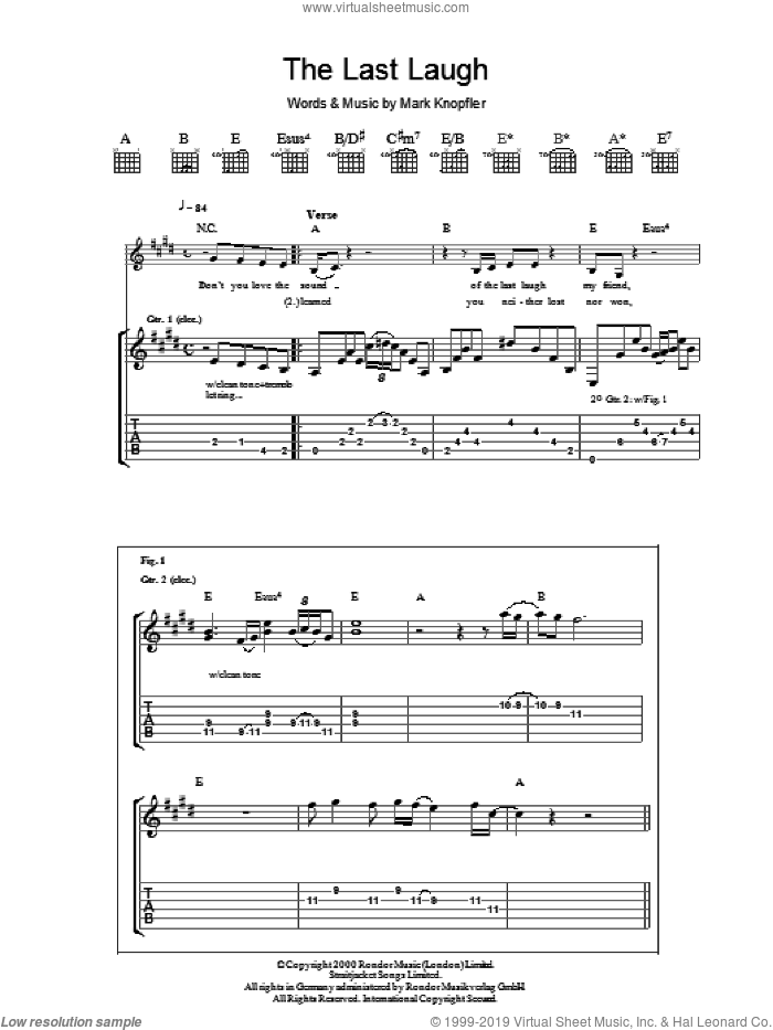 The Last Laugh sheet music for guitar (tablature) by Mark Knopfler. Score Image Preview.