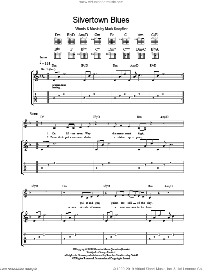 Silvertown Blues sheet music for guitar (tablature) by Mark Knopfler. Score Image Preview.