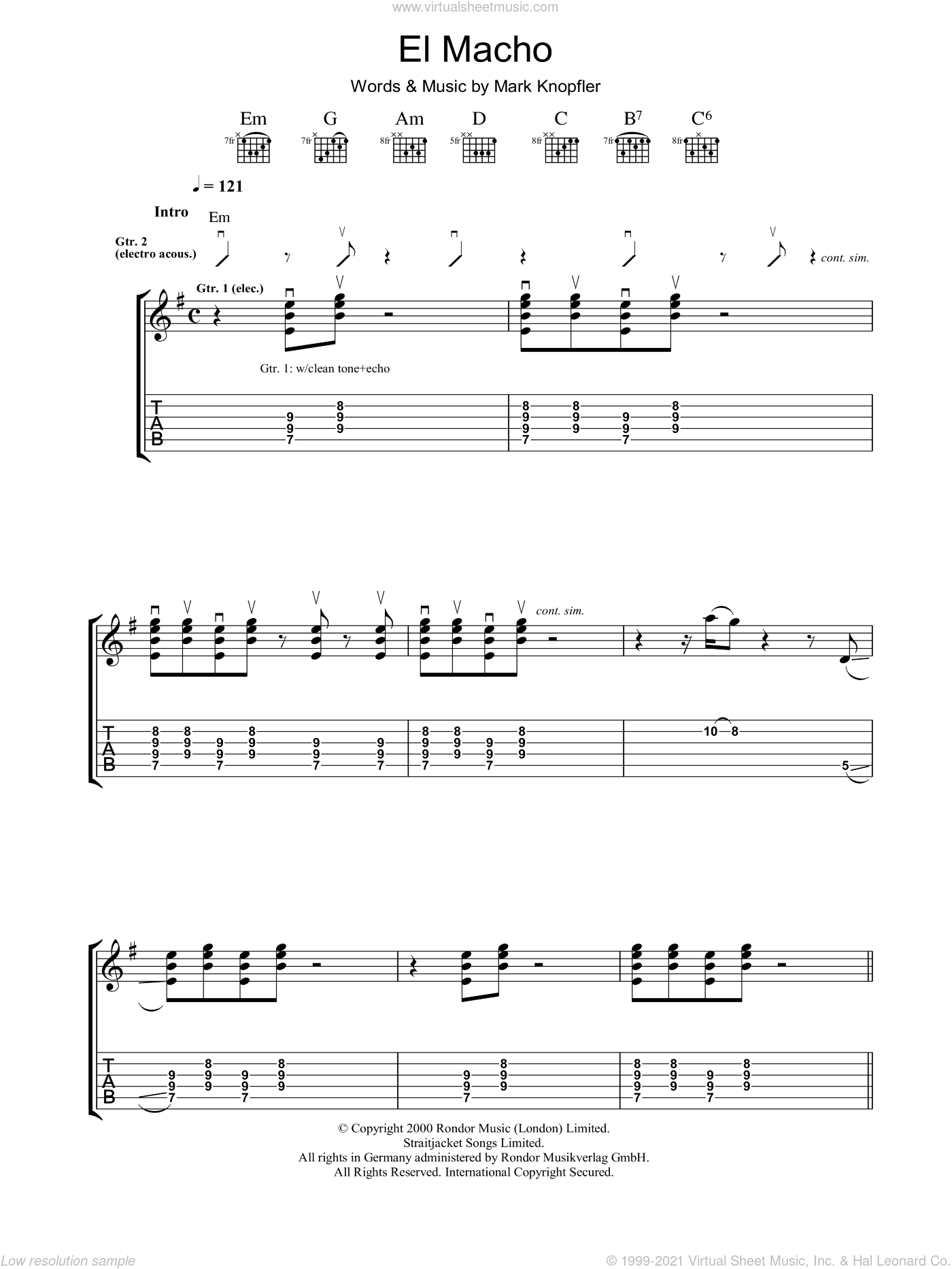 El Macho sheet music for guitar (tablature) by Mark Knopfler. Score Image Preview.
