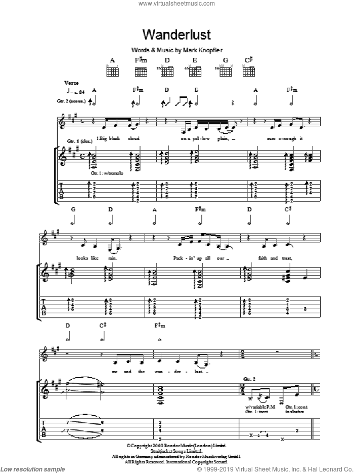 The Wanderlust sheet music for guitar (tablature) by Mark Knopfler, intermediate. Score Image Preview.
