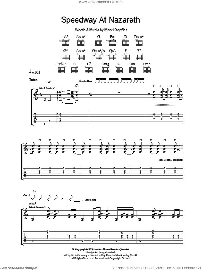 Speedway At Nazareth sheet music for guitar (tablature) by Mark Knopfler, intermediate skill level