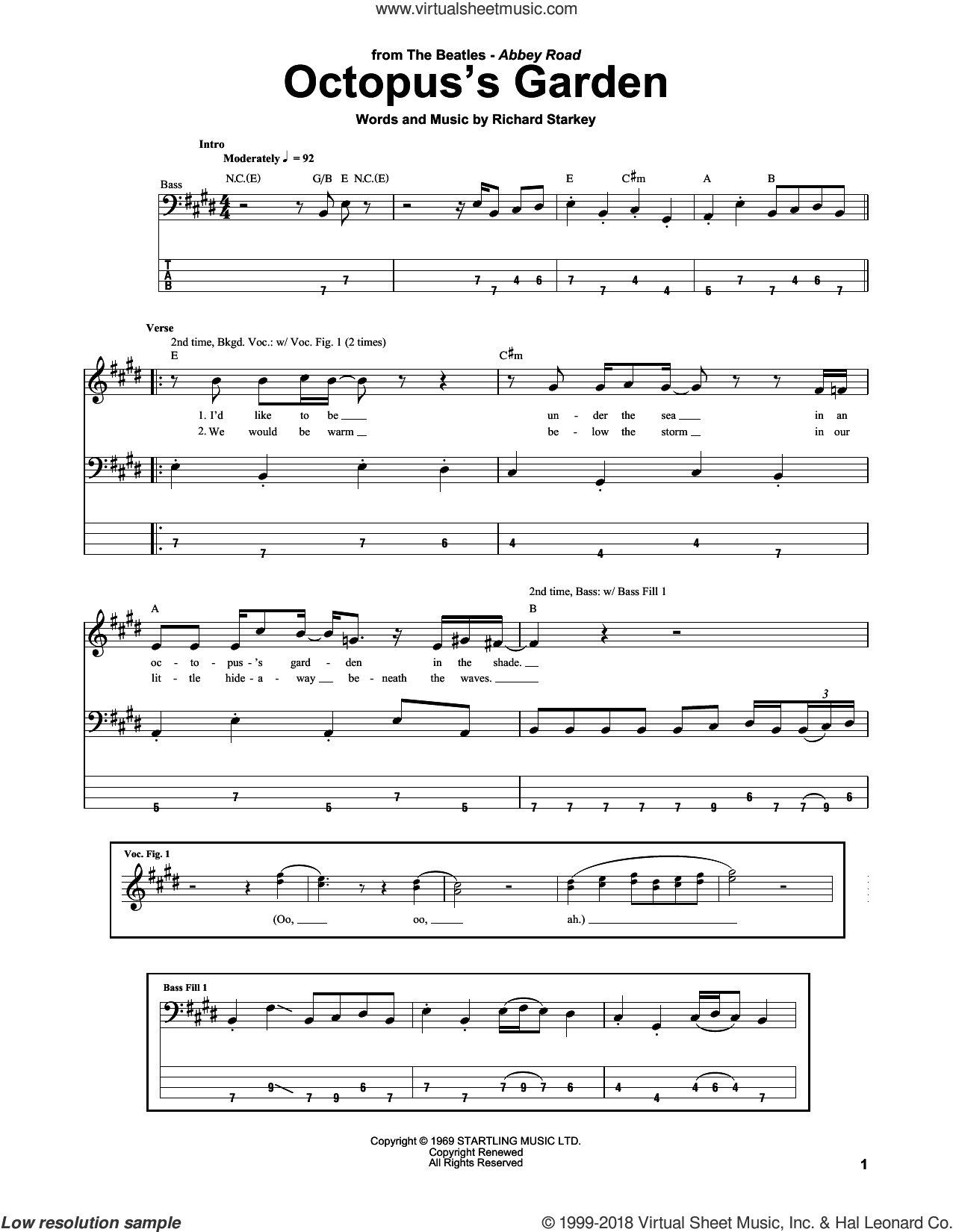 Octopus's Garden sheet music for bass (tablature) (bass guitar) by The Beatles and Richard Starkey, intermediate skill level