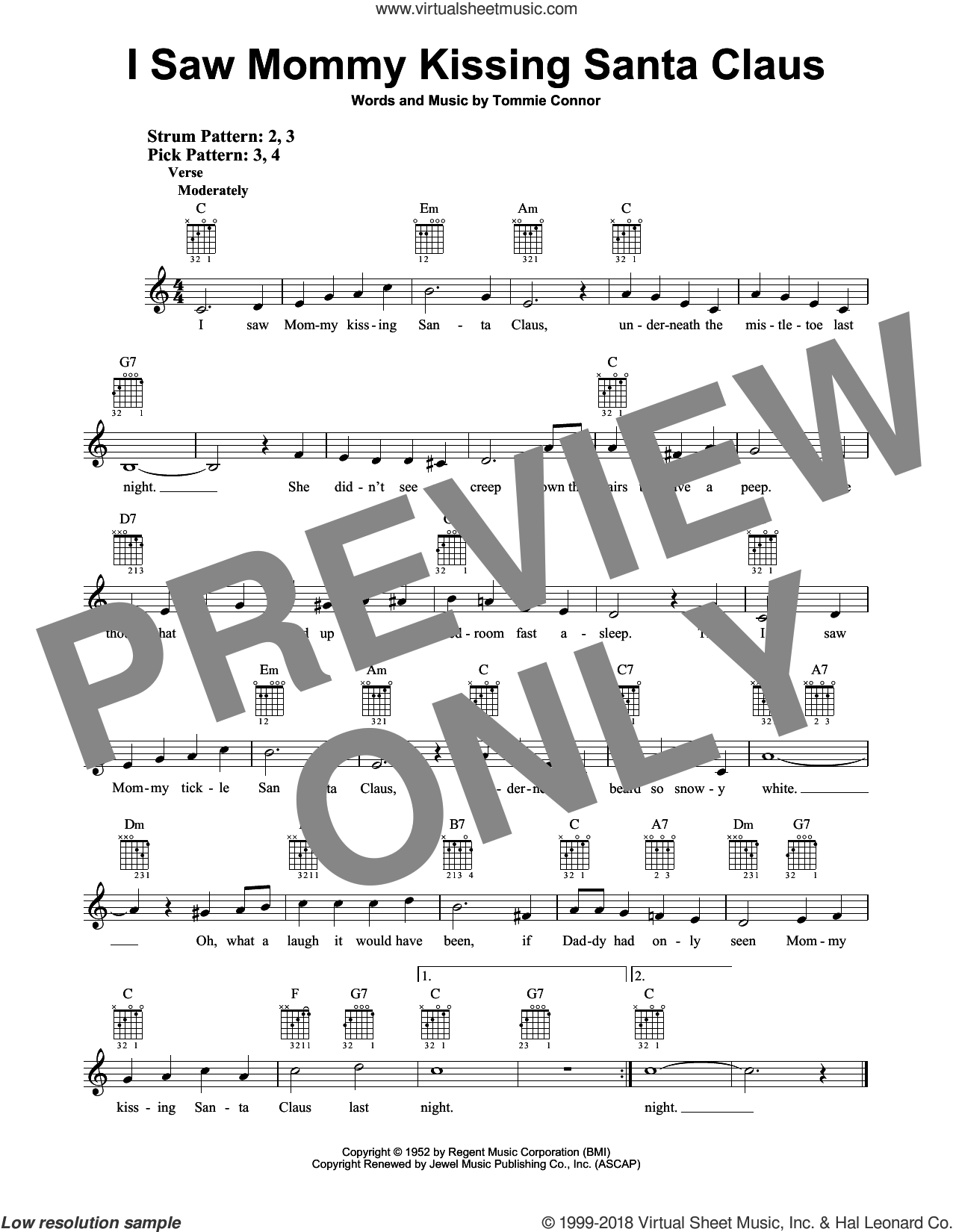 I Saw Mommy Kissing Santa Claus sheet music for guitar solo (chords) by Tommie Connor, easy guitar (chords)