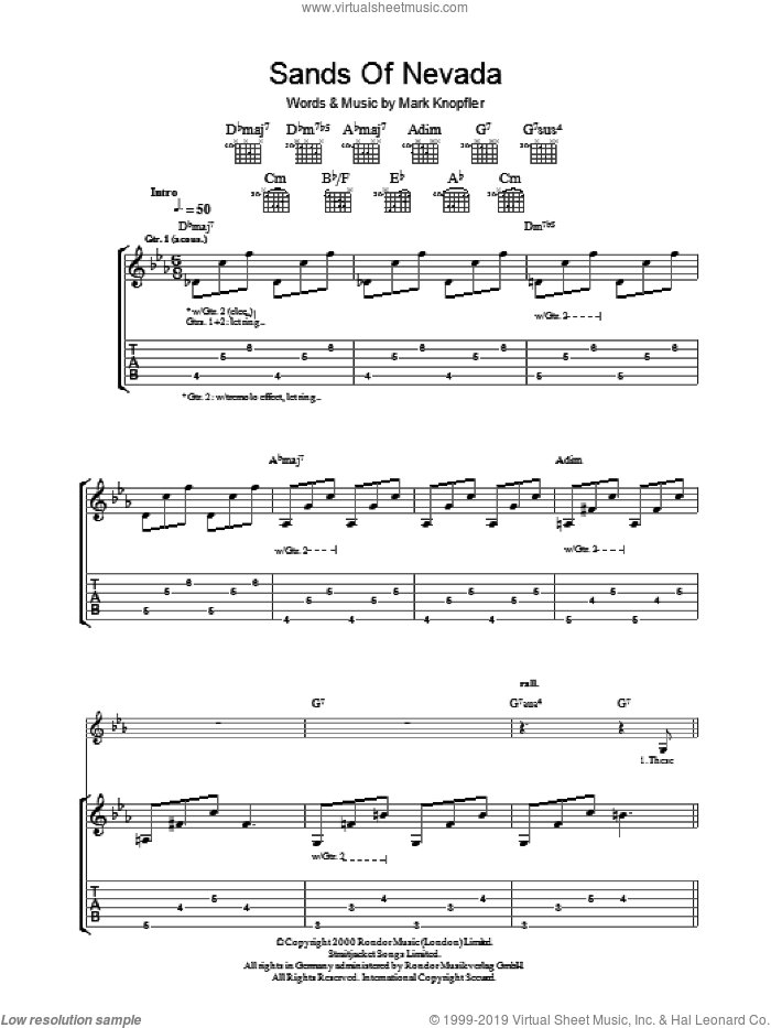 Sands Of Nevada sheet music for guitar (tablature) by Mark Knopfler, intermediate skill level