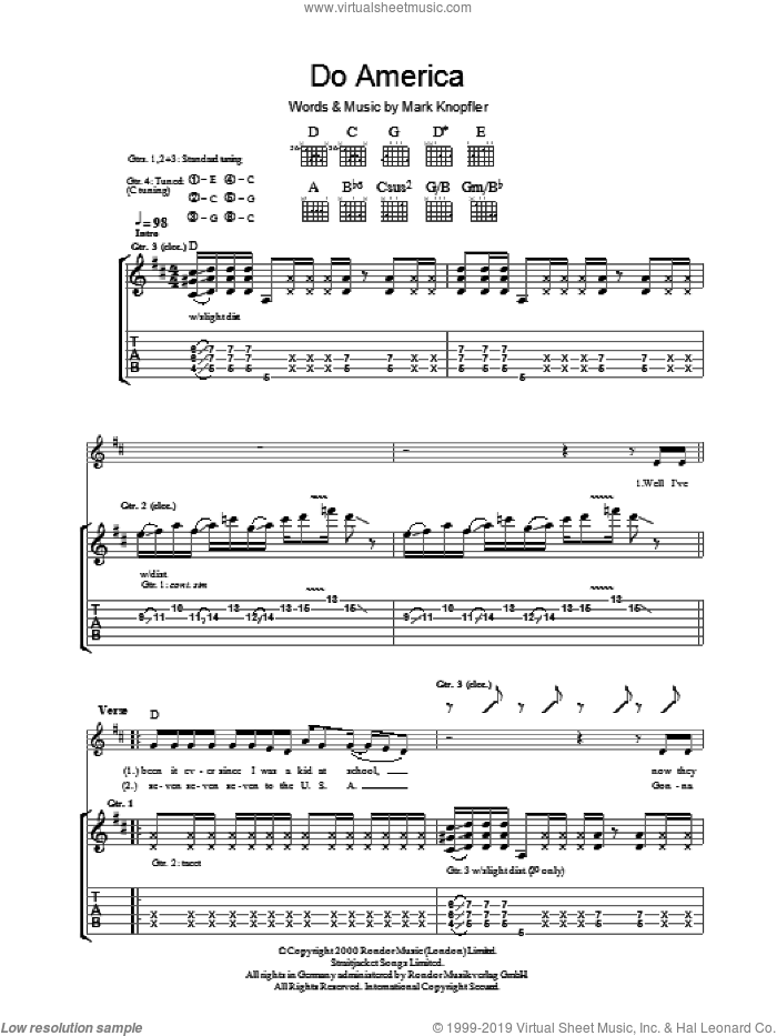 Do America sheet music for guitar (tablature) by Mark Knopfler. Score Image Preview.