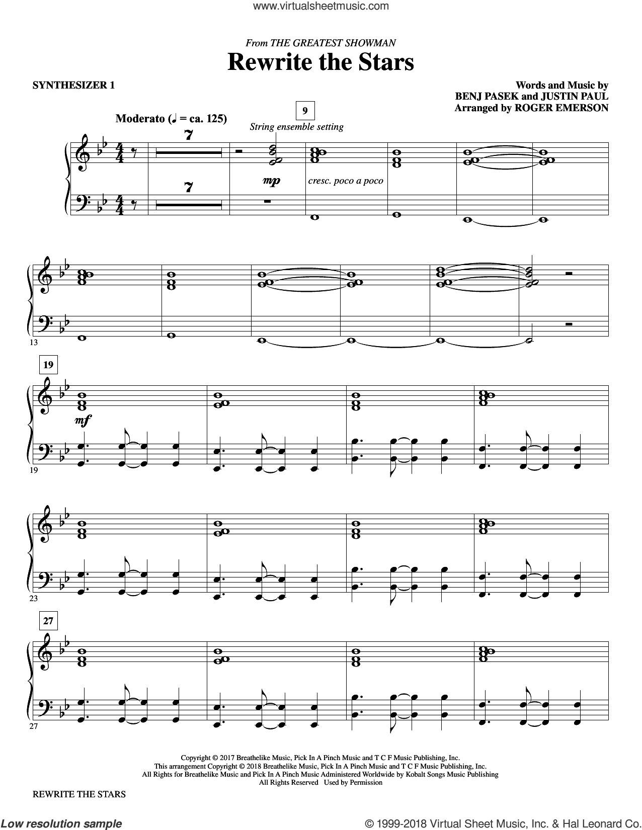 Rewrite The Stars (complete set of parts) sheet music for orchestra/band by Roger Emerson, Benj Pasek, Justin Paul and Zac Efron & Zendaya, intermediate skill level