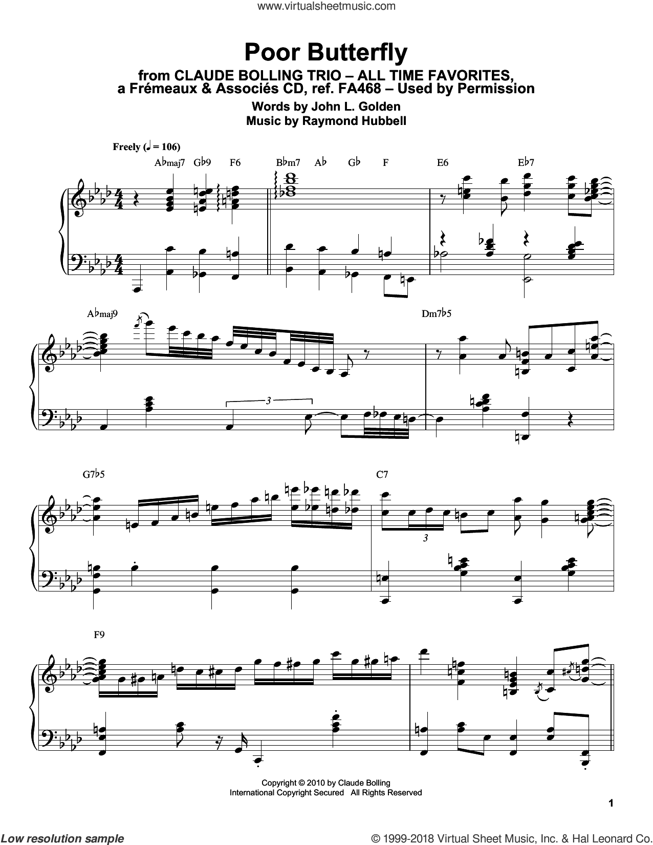 Poor Butterfly sheet music for piano solo (transcription) by Claude Bolling, John L. Golden and Raymond Hubbell, intermediate piano (transcription)
