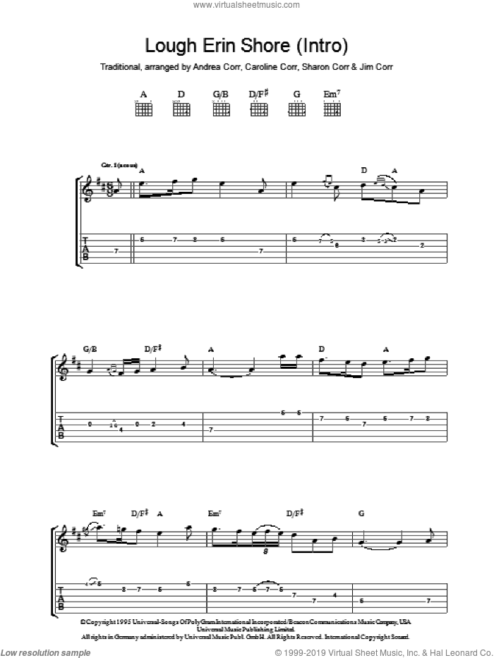 Lough Erin Shore sheet music for guitar (tablature) by The Corrs, Andrea Corr and Miscellaneous. Score Image Preview.