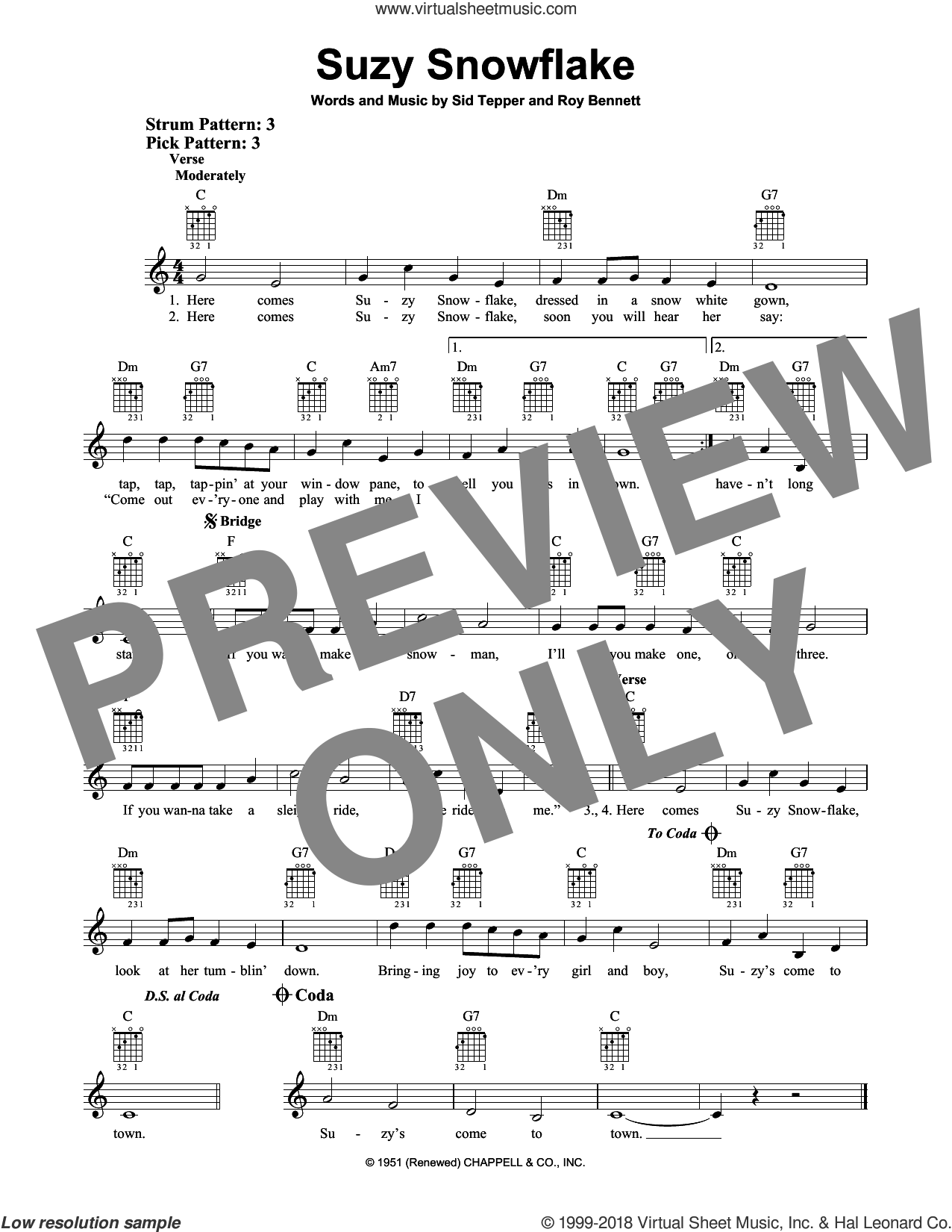 Suzy Snowflake sheet music for guitar solo (chords) by Roy Bennett and Sid Tepper, easy guitar (chords)