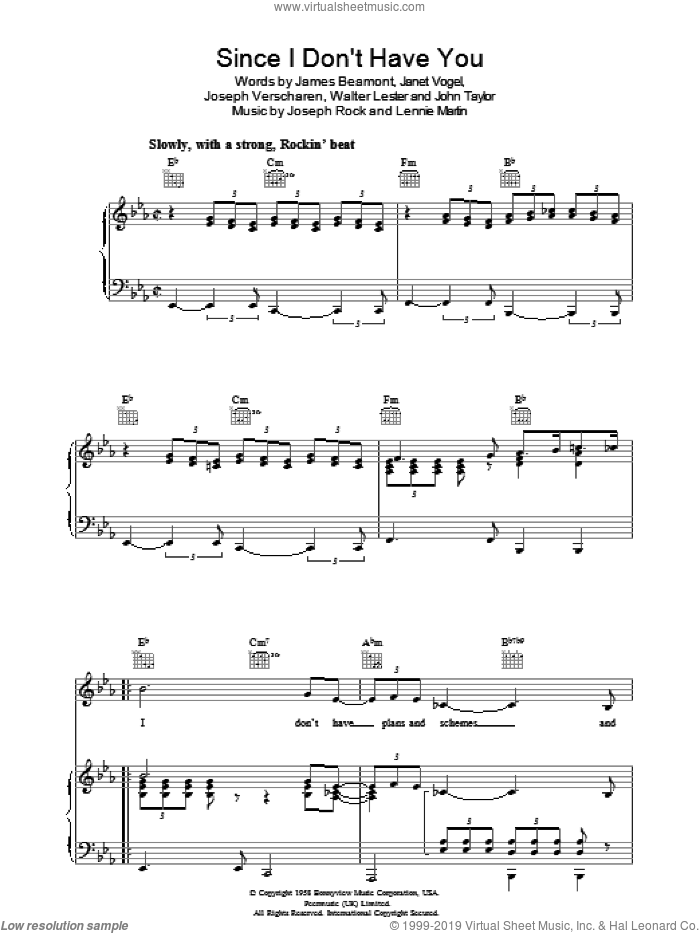 Since I Don't Have You sheet music for voice, piano or guitar by The Skyliners, James Beaumont, Janet Vogel, John Taylor, Joseph Rock, Joseph Verscharen, Lennie Martin and Walter Lester, intermediate. Score Image Preview.