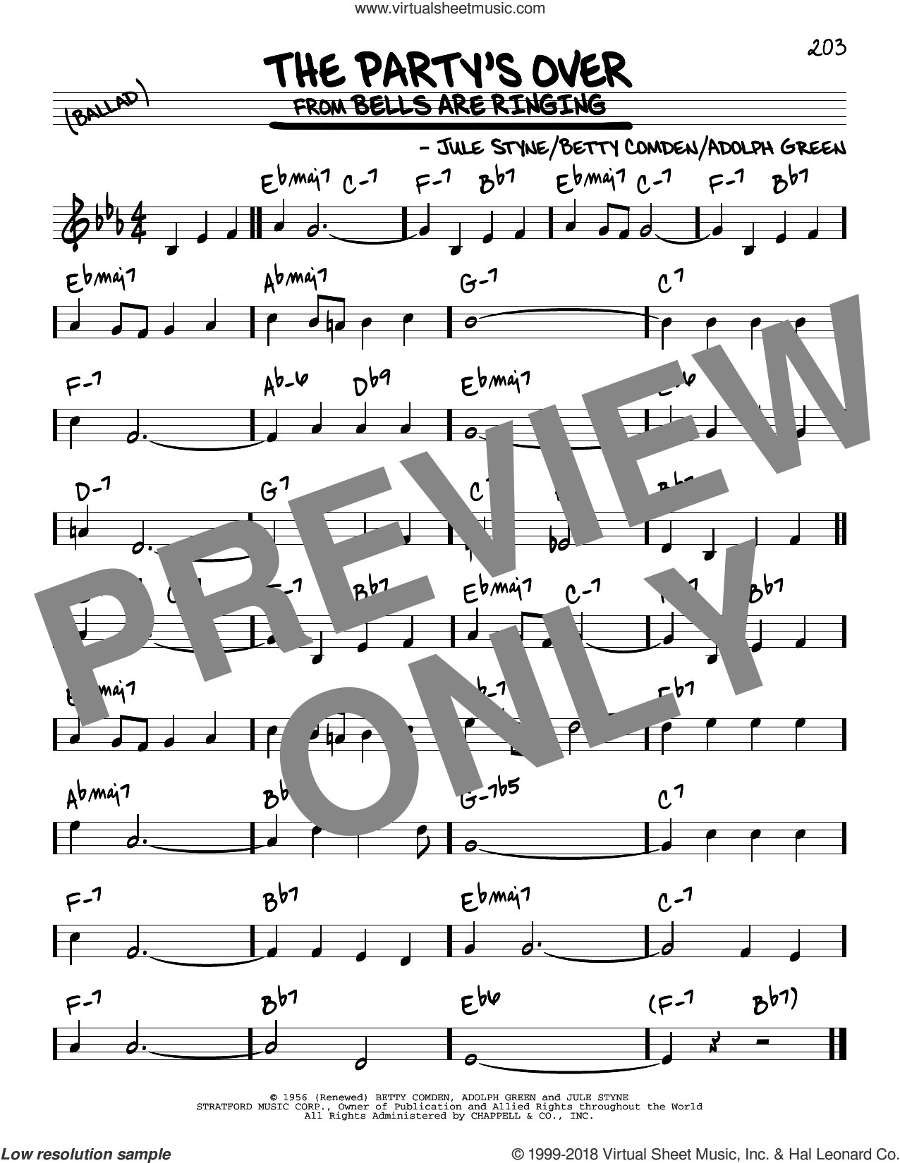 The Party's Over sheet music for voice and other instruments (real book) by Jule Styne, Adolph Green and Betty Comden, intermediate skill level