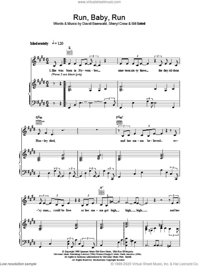 Run, Baby, Run sheet music for voice, piano or guitar by Sheryl Crow, Bill Bottrell and David Baerwald. Score Image Preview.