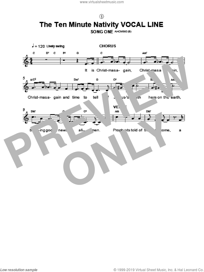 Song One / Instrumental Introduction (from The Ten Minute Nativity) sheet music for voice and other instruments (fake book) by Alison Hedger, intermediate skill level