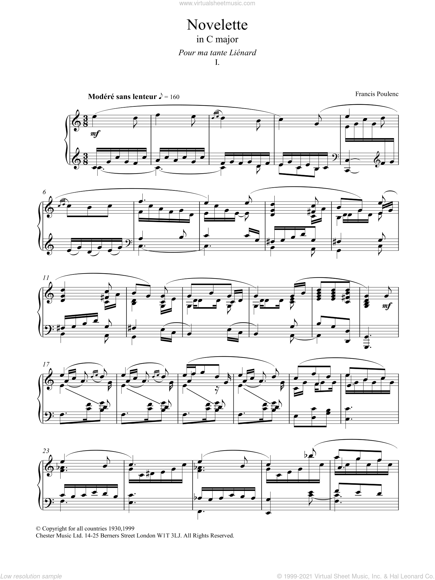 Novelette In C Major, I sheet music for piano solo by Francis Poulenc, classical score, intermediate skill level
