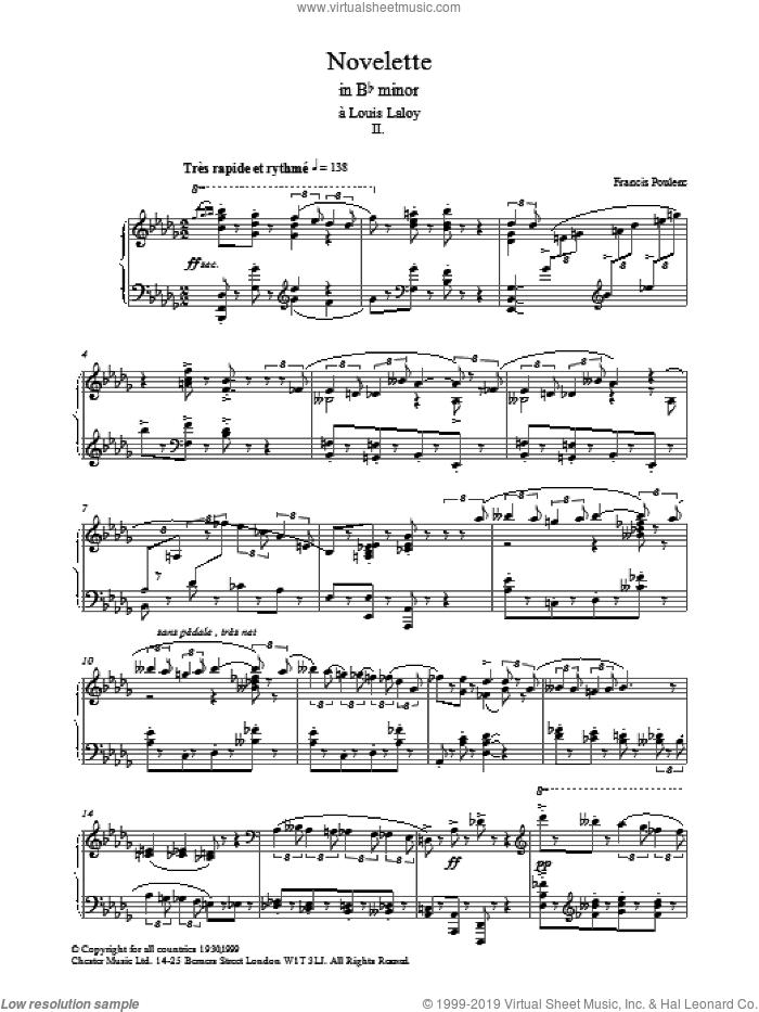Novelette In Bb Minor, II sheet music for piano solo by Francis Poulenc, classical score, intermediate skill level