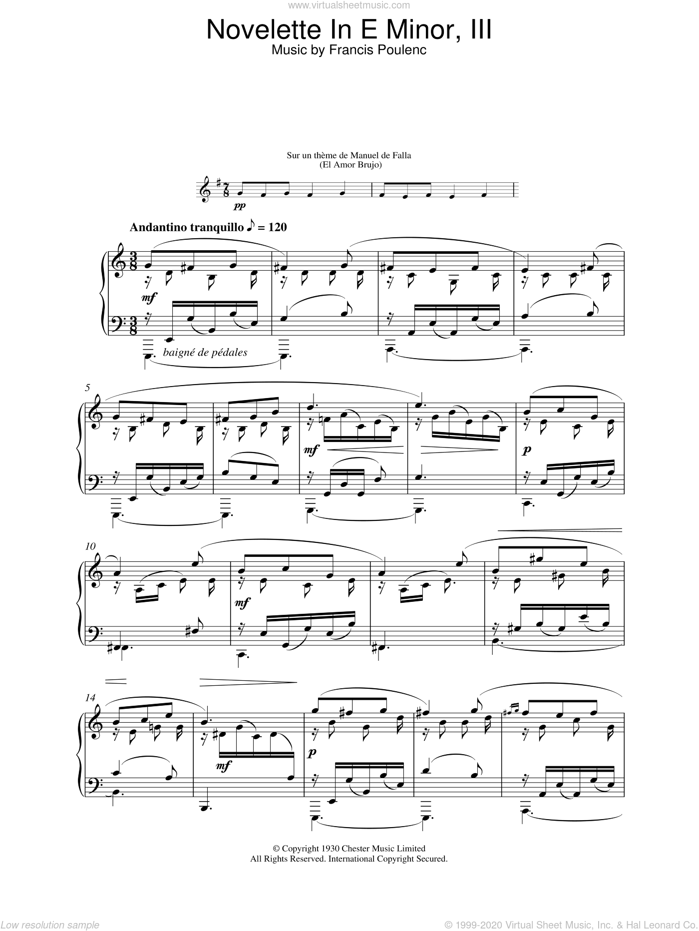 Novelette In E Minor, III sheet music for piano solo by Francis Poulenc