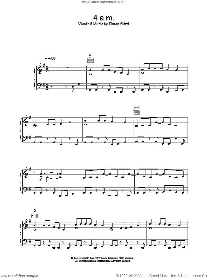 4am sheet music for voice, piano or guitar by Simon Aldred. Score Image Preview.