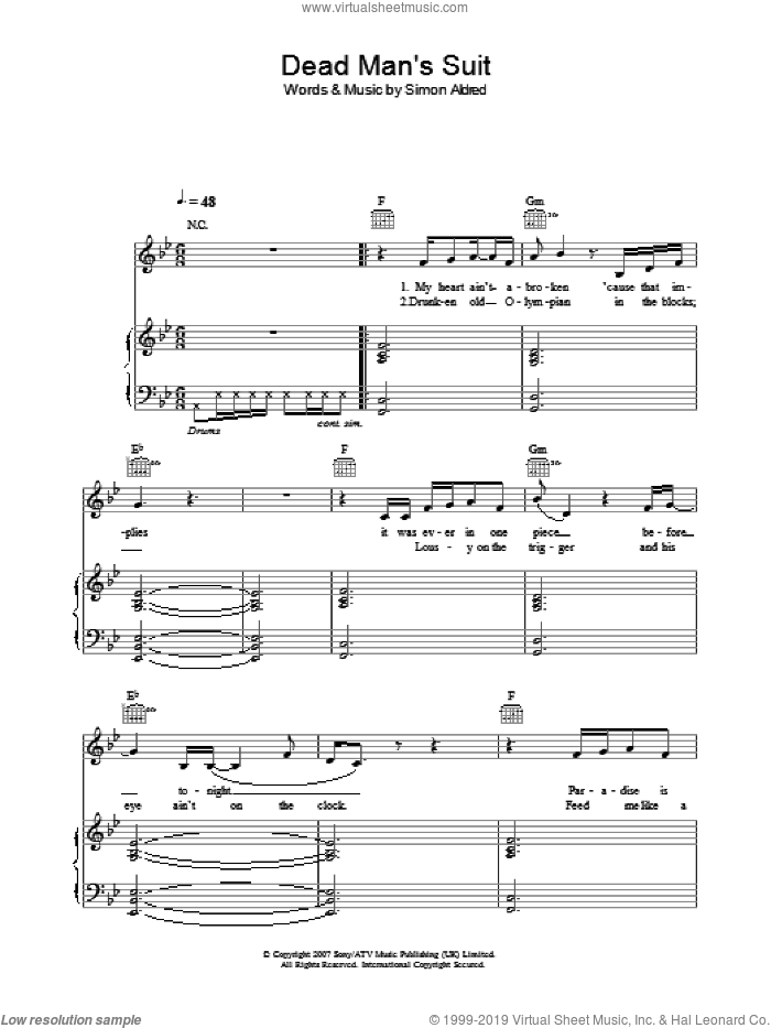 Dead Man's Suit sheet music for voice, piano or guitar by Simon Aldred. Score Image Preview.
