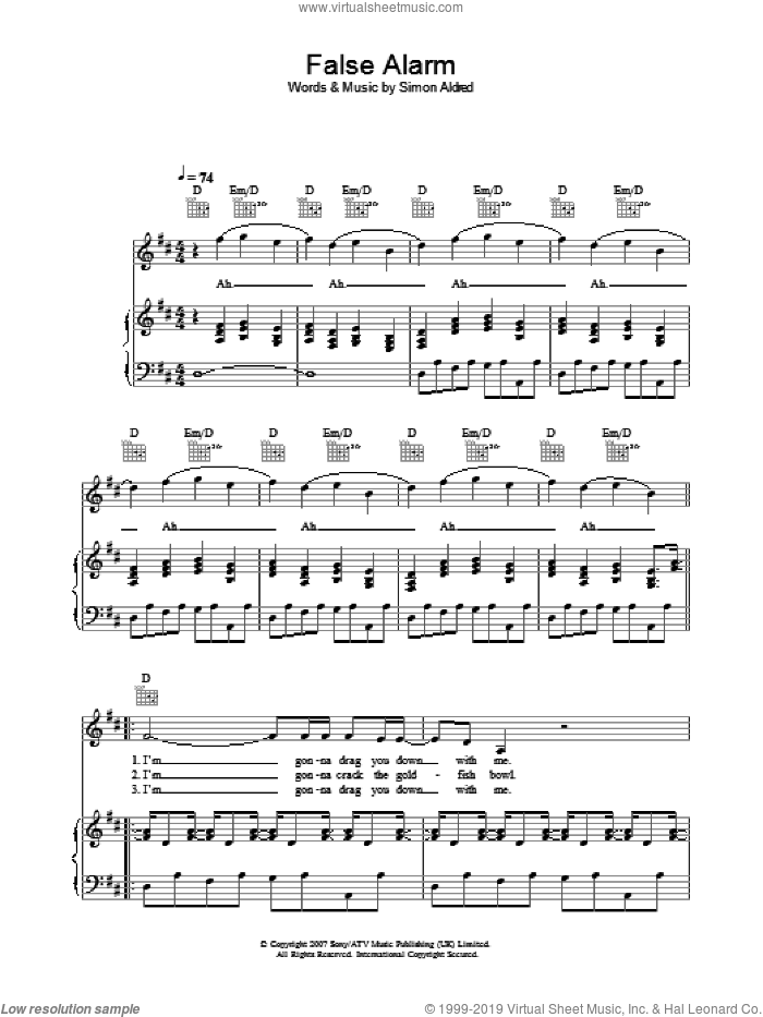 False Alarm sheet music for voice, piano or guitar by Simon Aldred. Score Image Preview.
