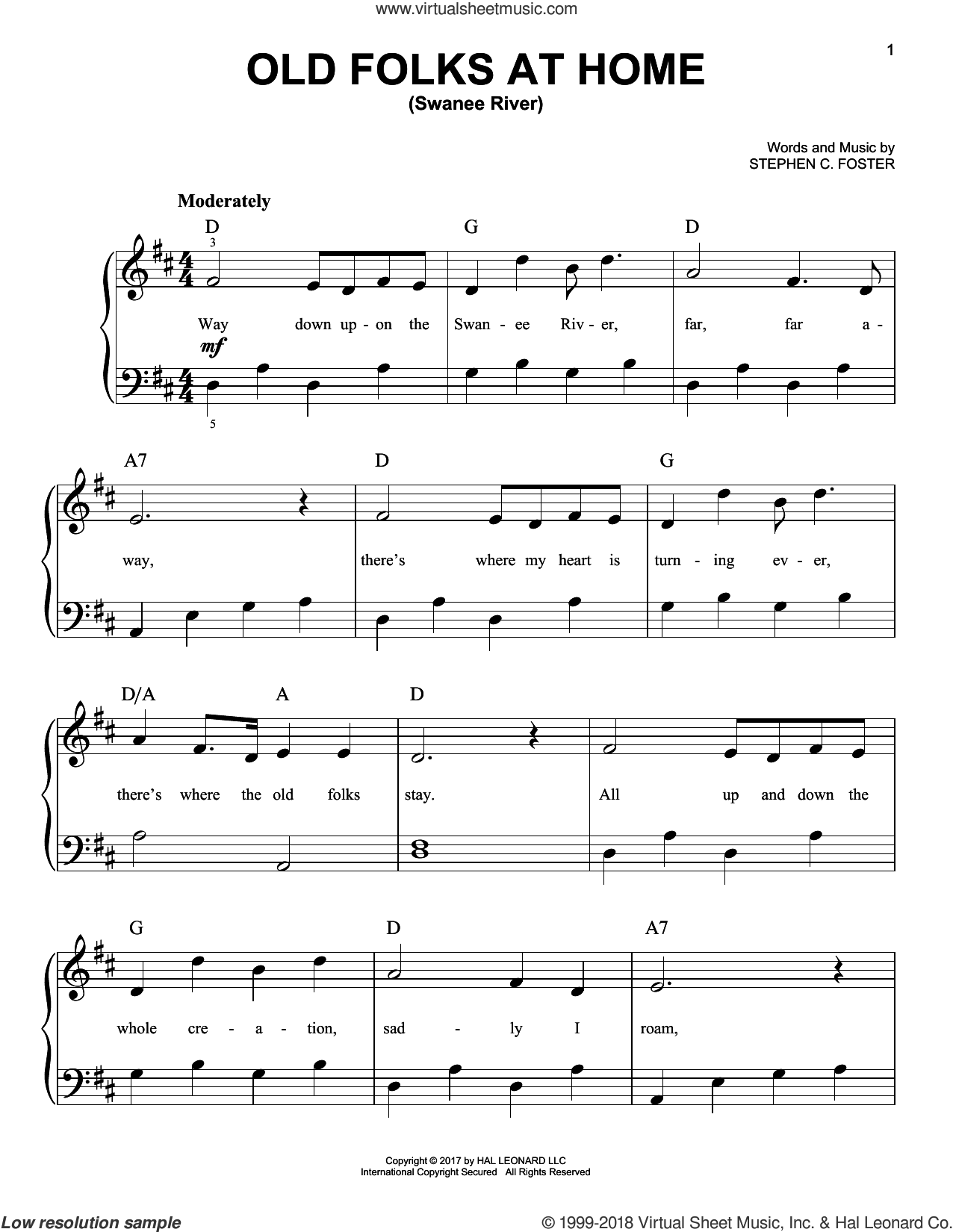 Old Folks At Home (Swanee River) sheet music for piano solo by Stephen Foster, beginner skill level