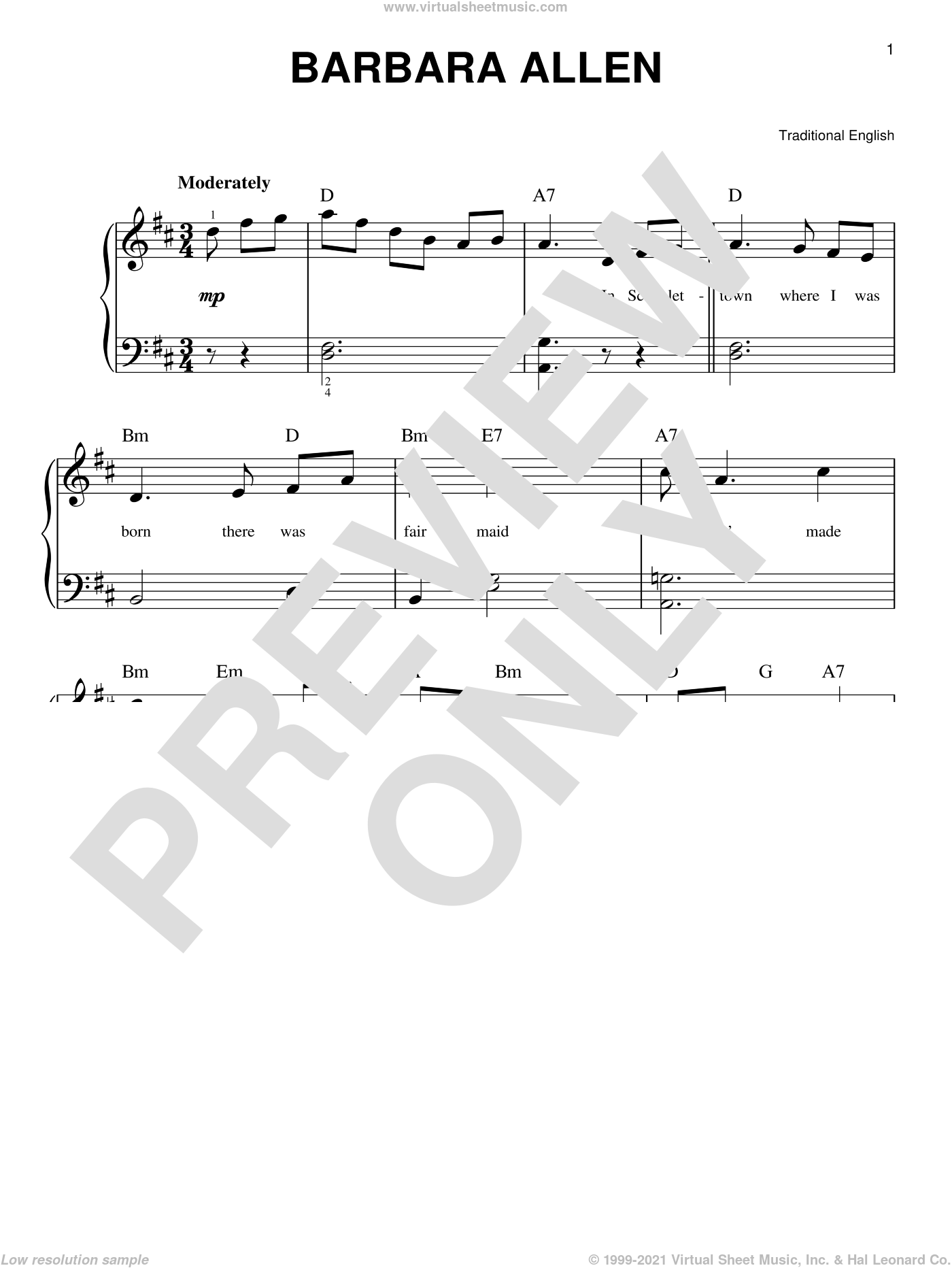 Barbara Allen sheet music for piano solo, beginner skill level