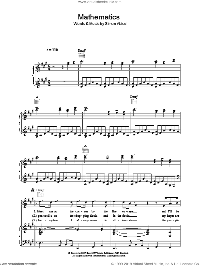 Mathematics sheet music for voice, piano or guitar by Cherry Ghost. Score Image Preview.