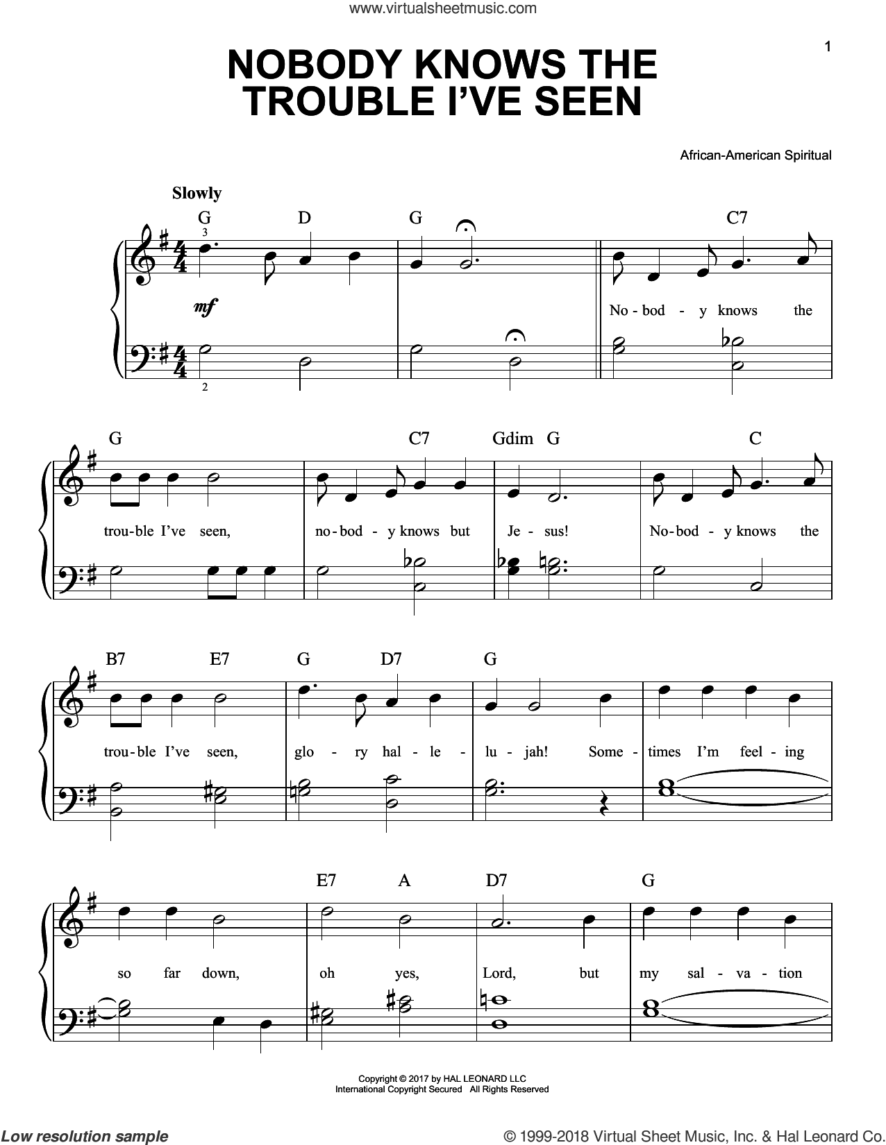 Nobody Knows The Trouble I've Seen sheet music for piano solo, beginner skill level