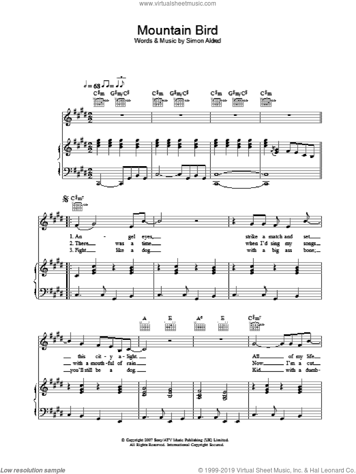 Mountain Bird sheet music for voice, piano or guitar by Simon Aldred. Score Image Preview.