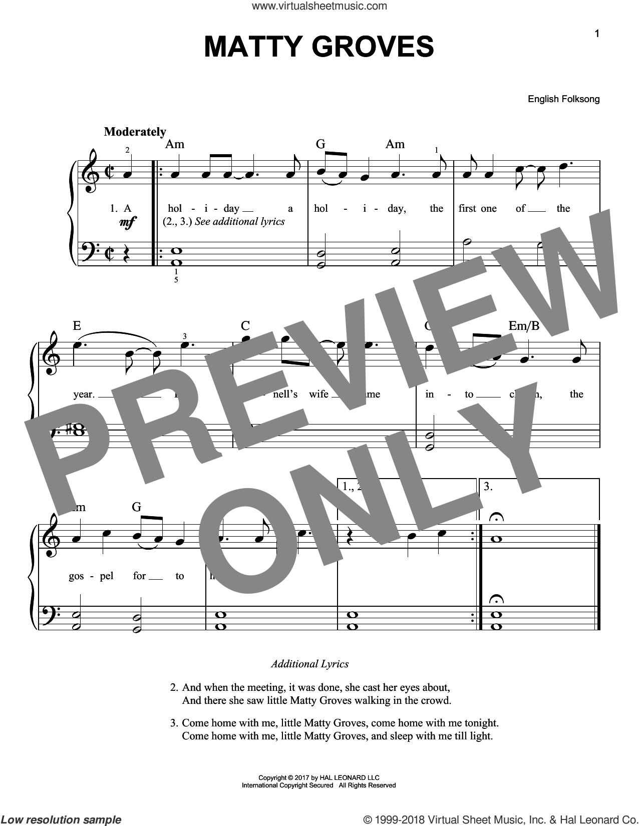 Matty Groves sheet music for piano solo, beginner skill level