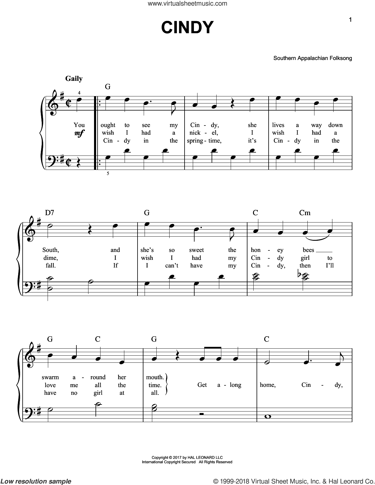 Cindy sheet music for piano solo by Southern Appalachian Folksong, beginner skill level