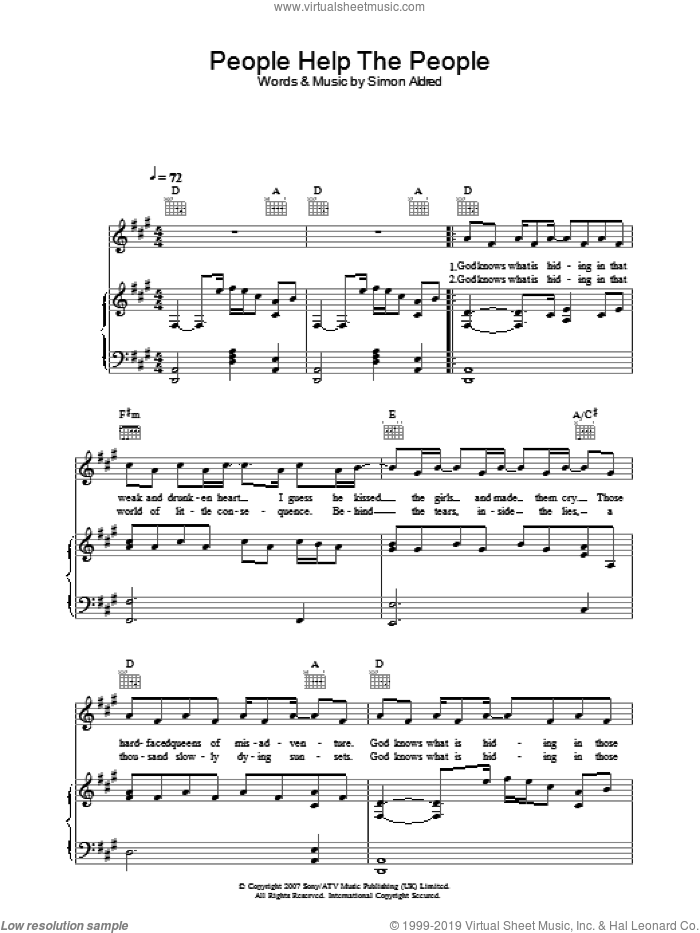 People Help The People sheet music for voice, piano or guitar by Simon Aldred. Score Image Preview.