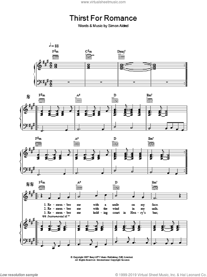Thirst For Romance sheet music for voice, piano or guitar by Cherry Ghost and Simon Aldred, intermediate. Score Image Preview.