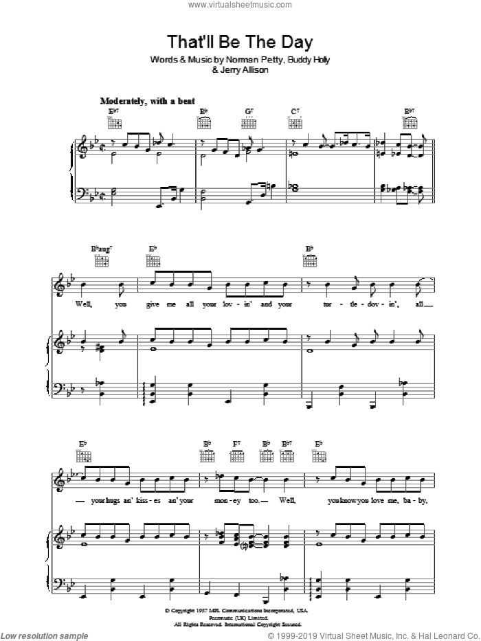 That'll Be The Day sheet music for voice, piano or guitar by Jerry Allison